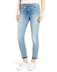 Jen7 - Blue Release Hem Stretch Ankle Skinny Jeans - Lyst