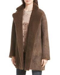 Vince | Brown Reversible Teddy Genuine Shearling Coat | Lyst