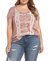 Lucky Brand | Pink Mixed Print Tee | Lyst