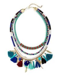 Panacea | Blue Multistrand Tassel Necklace | Lyst