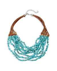 Panacea | Blue Multistrand Chip Stone Necklace | Lyst