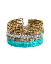 Panacea | Metallic Beaded Cuff Bracelet | Lyst