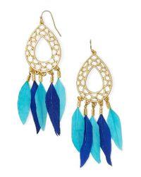 BaubleBar | Blue Feather Drop Earrings | Lyst