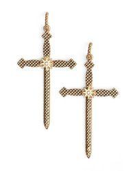Luv Aj   Metallic Serpent Cross Earrings   Lyst