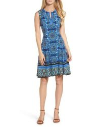 Maggy London | Blue Scuba Fit & Flare Dress | Lyst