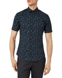 Topman | Blue Muscle Fit Bug Print Shirt for Men | Lyst