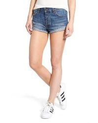 Volcom | Blue Rolled Denim Shorts | Lyst