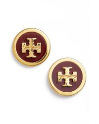 Tory Burch   Metallic Logo Stud Earrings   Lyst