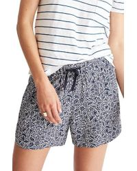 Madewell | Blue Print Drapey Pull-on Shorts | Lyst