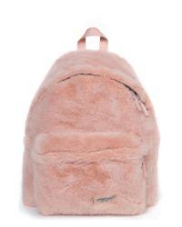 Eastpak Pink Padded Pak'r Faux Fur Backpack -