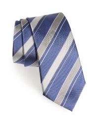 Canali | Blue Stripe Silk Tie for Men | Lyst
