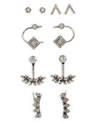 TOPSHOP | Metallic White Heat Set Of 5 Earrings | Lyst