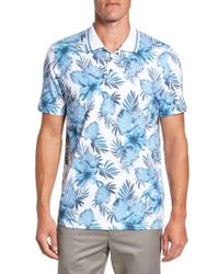Ted Baker | Blue Course Floral Print Modern Slim Fit Polo for Men | Lyst