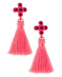 TOPSHOP - Pink Cross Tassel Drop Earrings - Lyst