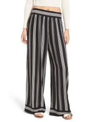 Band Of Gypsies | Black Herringbone Wide Leg Pants | Lyst