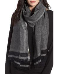 Eileen Fisher   Black Woven Stripe Scarf   Lyst