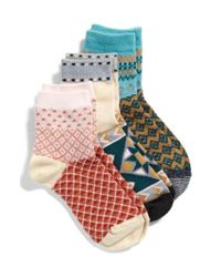 Free People - Triple The Fun 3-pack Socks, Blue - Lyst