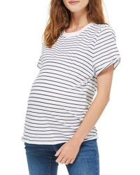 TOPSHOP - White Stripe Roll Sleeve Maternity Tee - Lyst
