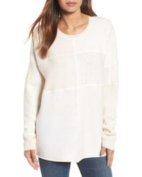 Eileen Fisher | Natural Patchwork Wool Sweater | Lyst