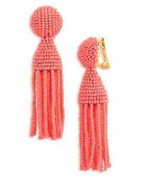 Oscar de la Renta - Red 'classic Short' Tassel Drop Earrings - Lyst