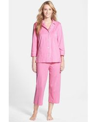 Lauren by Ralph Lauren | Pink Knit Crop Pajamas | Lyst