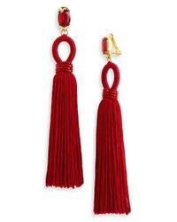 Oscar de la Renta   Red Long Silk Tassel Clip-on Earrings   Lyst