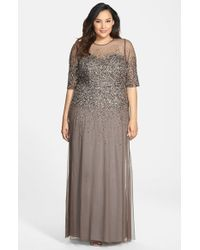 Adrianna Papell - Gray Beaded Illusion Gown - Lyst