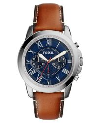 Fossil   Brown 'grant' Round Chronograph Leather Strap Watch for Men   Lyst
