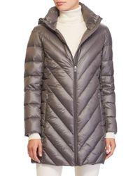 Lauren by Ralph Lauren | Gray Chevron Quilted Down Jacket | Lyst