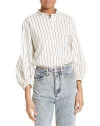 Tibi - White Pinstripe Cotton Shirt - Lyst