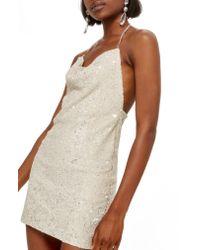 TOPSHOP - Multicolor Brushed Sequin Cowl Neck Dress - Lyst