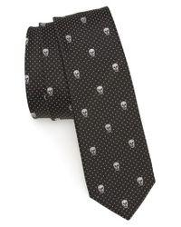 Alexander McQueen - Black Metallic Skull Silk Blend Tie for Men - Lyst