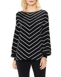 Vince Camuto | Black Long Sleeve Chevron Intarsia Sweater | Lyst