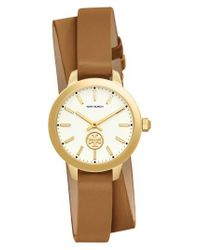 Tory Burch - Metallic Collins Double Wrap Leather Strap Watch - Lyst