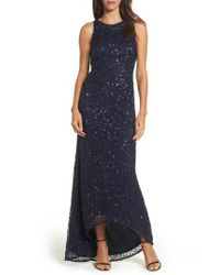 Adrianna Papell - Blue Sequin High/low Gown - Lyst