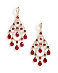 Givenchy - Red Open Crystal Chandelier Earrings - Lyst