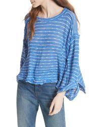 Free People - Blue Island Girl Hacci Stripe Tee - Lyst