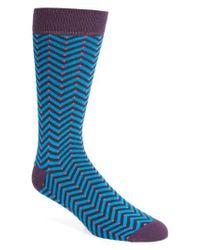 Ted Baker | Blue Chevron Stripe Socks for Men | Lyst