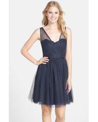 Monique Lhuillier Bridesmaids - Blue Tulle Overlay Lace Fit & Flare Dress - Lyst