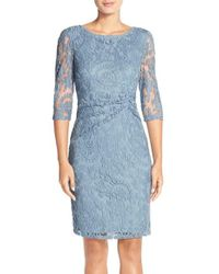 Adrianna Papell | Blue Ruched Lace Sheath Dress | Lyst