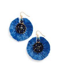 Nakamol - Blue Beaded Fan Earrings - Lyst