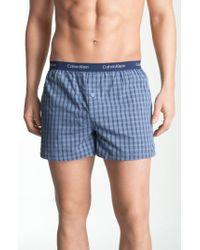 Calvin Klein   Blue 'matrix' Slim Fit Woven Boxers for Men   Lyst