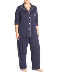 Lauren by Ralph Lauren - Blue Knit Pajamas - Lyst