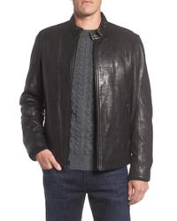 Andrew Marc - Black Marc New York Cafe Racer Slim Leather Jacket With Faux Shearling Lining for Men - Lyst