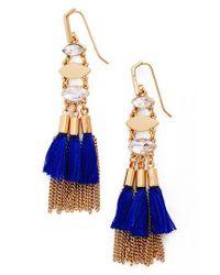 Rebecca Minkoff | Blue Tassel & Fringe Chandelier Earrings | Lyst