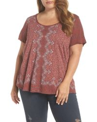 Lucky Brand - Red Print Tee - Lyst