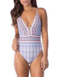 La Blanca - Blue Plunge One-piece Swimsuit - Lyst