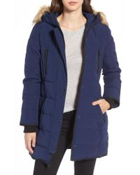 Guess | Blue Hooded Jacket With Faux Fur Trim | Lyst