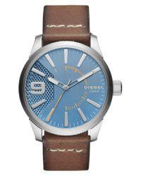 DIESEL - Blue Diesel Rasp Leather Strap Watch for Men - Lyst