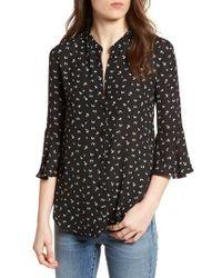 Nordstrom - Black Print Bell Sleeve Shirt - Lyst